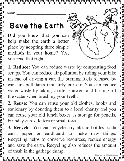 Save The Earth Comprehension Passage