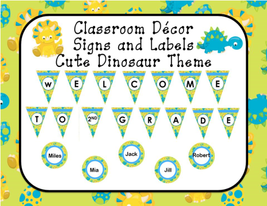 classroom decor editable signs and labels dinosaur