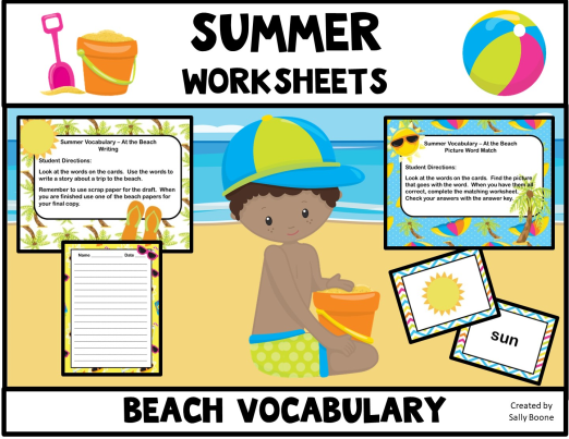 Summer Vocabulary Words - At The Beach