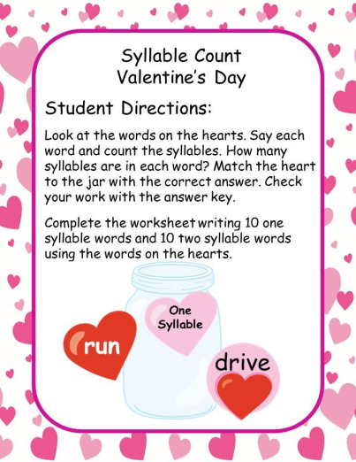 Syllables Valentine S Day Theme