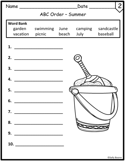 Worksheets - Summer Theme