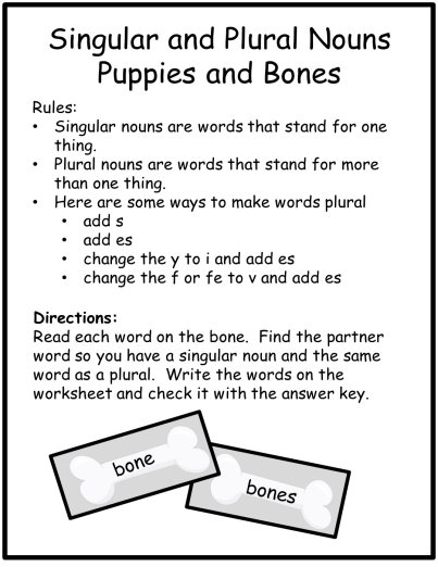 Singular And Plural Nouns Task Cards Literacy Center Worksheets