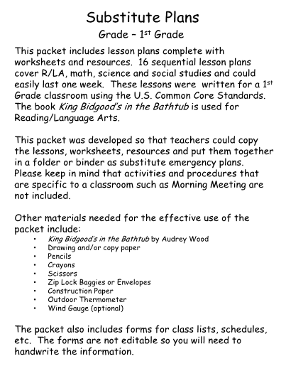 Substitute lesson plans 1st grade ibookread Read Online