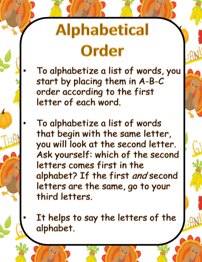 Alphabetical Order - Thanksgiving Theme