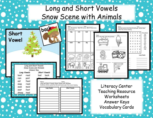 Phonics Long and Short Vowels - Winter Christmas