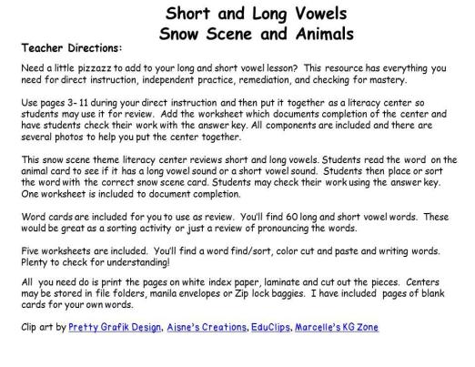 Phonics Long And Short Vowels Winter Christmas. Phonics Long And Short Vowels Winter Christmas Literacy Center Teaching Resource. Worksheet. Long And Short Vowel Sounds Worksheets At Clickcart.co