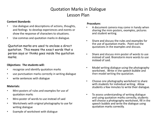 Marks in Dialogue – Quotation Marks Worksheets