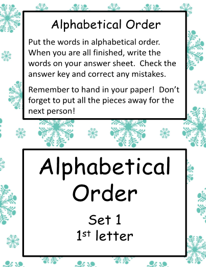 Alphabetical Order - Winter Theme