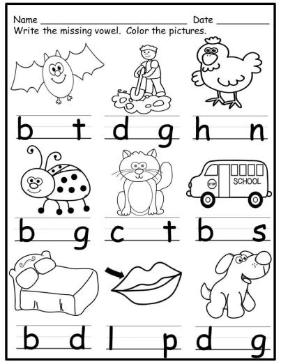 Worksheets Short Vowels