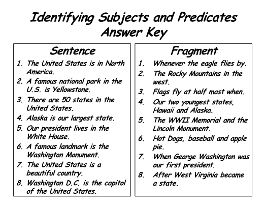 Identifying Sentences and Fragments - Patriotic