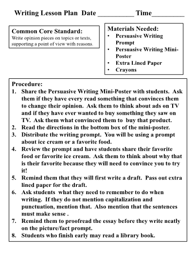 persuasive writing lesson plans 3rd grade Find quality lessons, lessonplans, and other resources for middle school persuasive writing and much more.