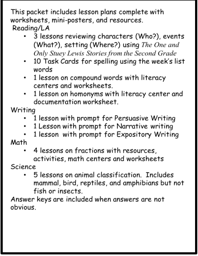 Substitute Lesson Plans - 2nd Grade Set 2