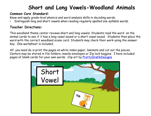 and Long Vowels-Woodland Animal Theme