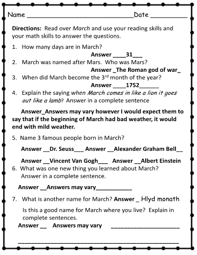 Worksheets Reading Writing Math Review