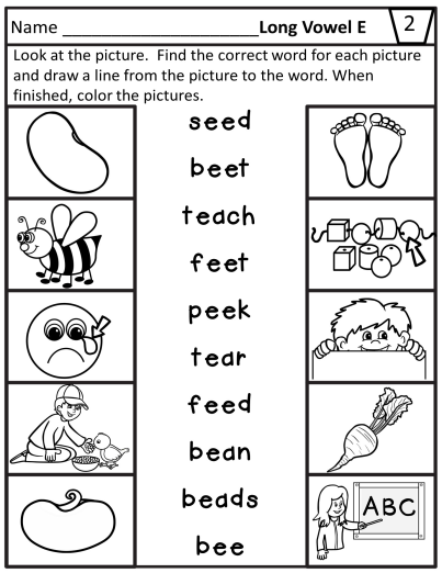 Long Vowel E Teams Worksheets For Ee Ea