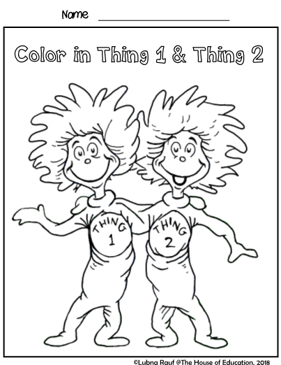 Dr Seuss Inspired Coloring Pages