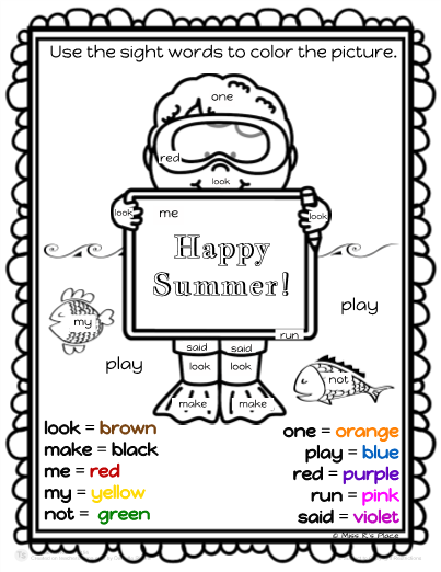 color by sight word activity set 3 - Color Activity