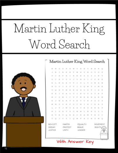 photo relating to Martin Luther King Word Search Printable called Martin Luther King Jr. Phrase Look Worksheet