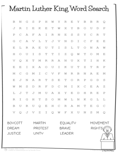 martin luther king jr word search worksheet
