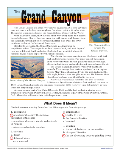 Grand Canyon - Reading Comprehension - 7th Grade