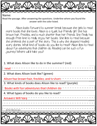 Reading Comprehension Passages- Summer Themed