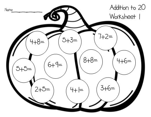 Pumpkin Worksheets Addition to 20