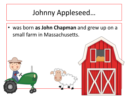 graphic regarding Johnny Appleseed Printable Story titled The Tale of Johnny Appleseed SlideShow Booklet