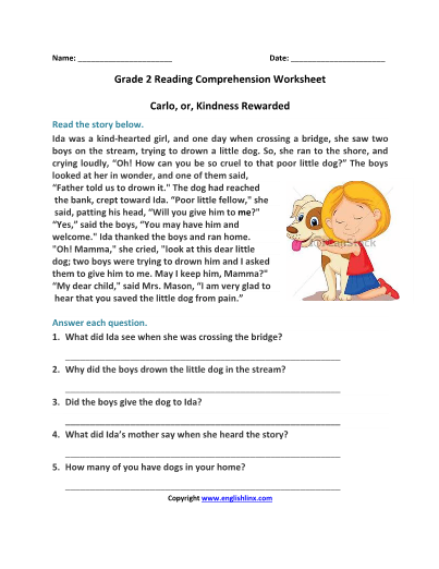2nd-Carlo-or-Kindness-Rewarded-Reading-Worksheet