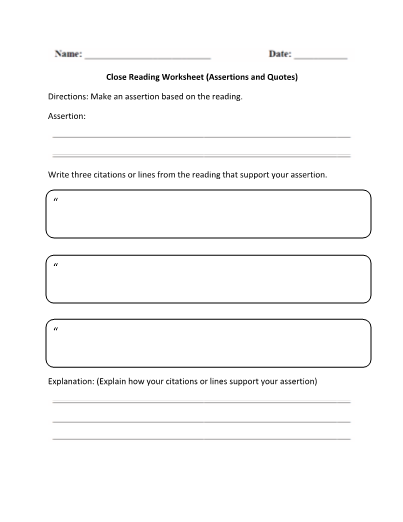 Close Reading Assertions And Quotes Organizer Worksheet