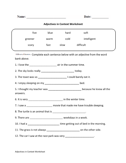 Adjectives In Context Worksheet