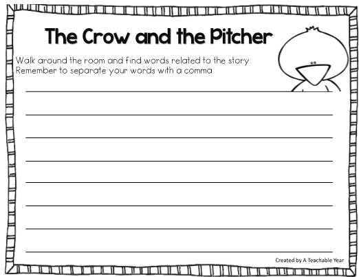 Crow and the Pitcher Fable – Fable Worksheets