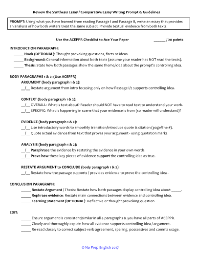 Personal Essay Topics  What Are The Qualities Of A Good Leader Essay also College Essay Editing Services Synthesis  Comparative Essay Mnemonic Checklist Compare And Contrast High School And College Essay