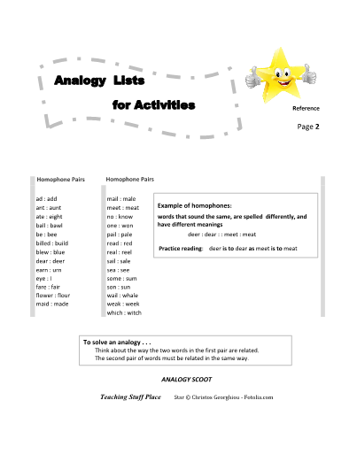 Analogies Figurative Language Vocabulary