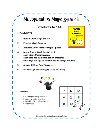 Multiply To 144 Worksheets Self Checking Magic