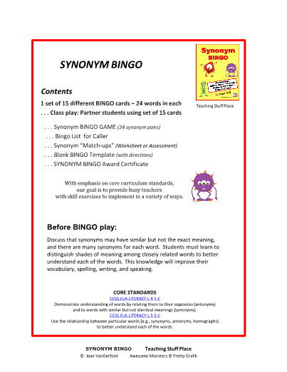 Synonyms In Bingo Game Grades 4 5 Vocab
