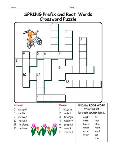 SPRING VOCABULARY Crossword Puzzles Grades 3 5