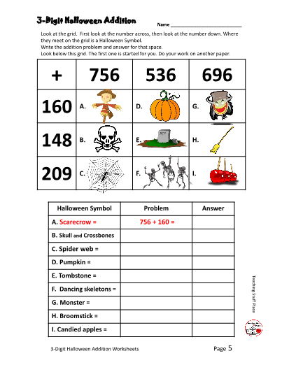 Digit Halloween Addition Worksheet Gr