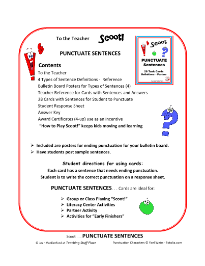PUNCTUATE SENTENCES     Task Cards     Scoot