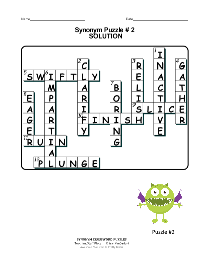 Synonym Crossword Puzzles Grade 4 5 6 Vocabulary
