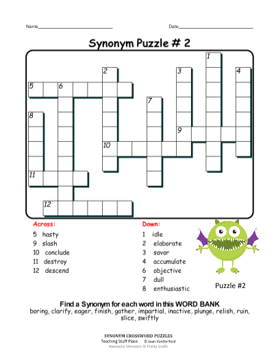 Synonym Crossword Puzzles