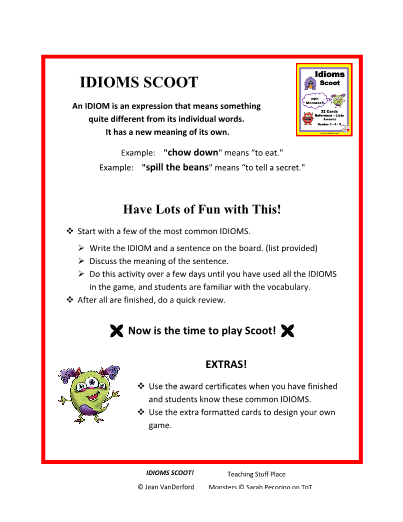 IDIOMS Figurative Language ... SCOOT ... Gr 3 4 5