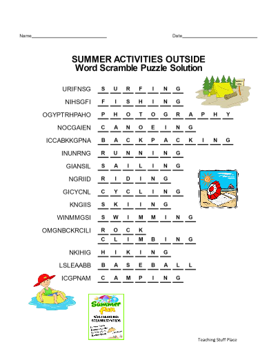 SUMMER WORD SEARCH And SCRAMBLES
