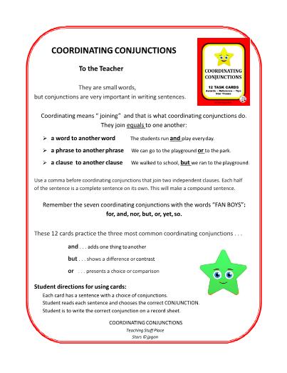 COORDINATING CONJUNCTIONS     Gr  3-4-5 Grammar