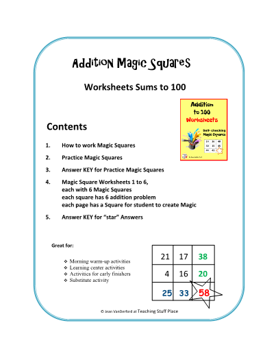 Add To 100 Worksheets Self Checking Magic