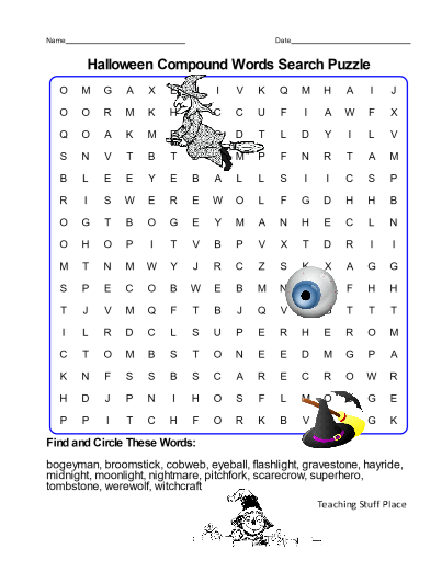HALLOWEEN Word Search Compound Words     2018