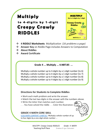 Multiply to 4-digits by 1-digit Creepy RIDDLES