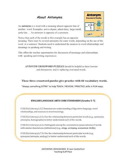 Antonym Crossword Puzzles - Grade 4-5-6 Vocabulary