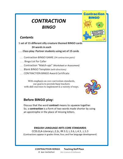 CONTRACTIONS BINGO GAME ... VOCABULARY Gr. 3-5