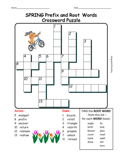 image about Spring Crossword Puzzle Printable identified as SPRING Prefix and Root Words and phrases CROSSWORD PUZZLE