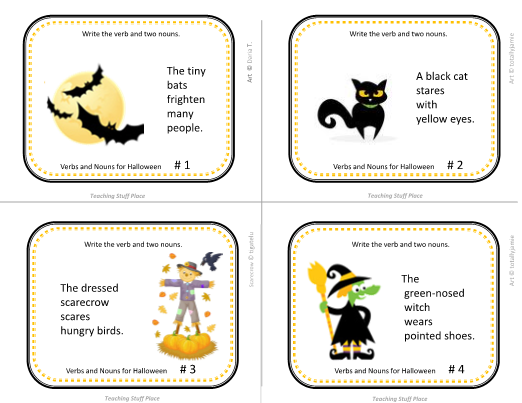 Halloween Vocabulary Verbs Nouns Adjectives